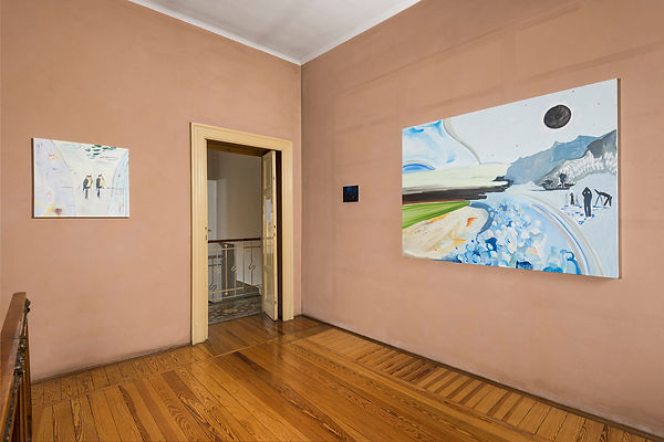 Vera Portatadino, Exhibition view of paintings by contemporary emerging artist Vera Portatadino, made in 2017, Total Eclipse of the Sun, Birds, Hypnosis