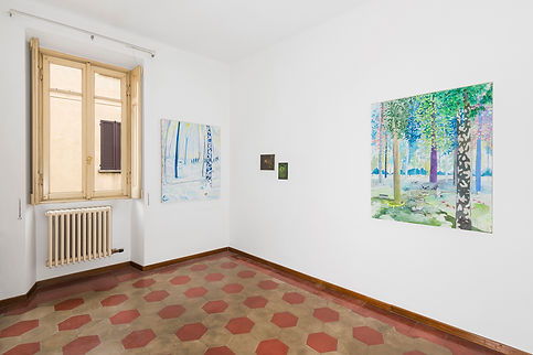 Vera Portatadino, Exhibition view of the show The Sun is the Same, displaying paintings by contemporary artist Vera Portatadino, made in 2017, forest, forest crossing, post-human condition, nature