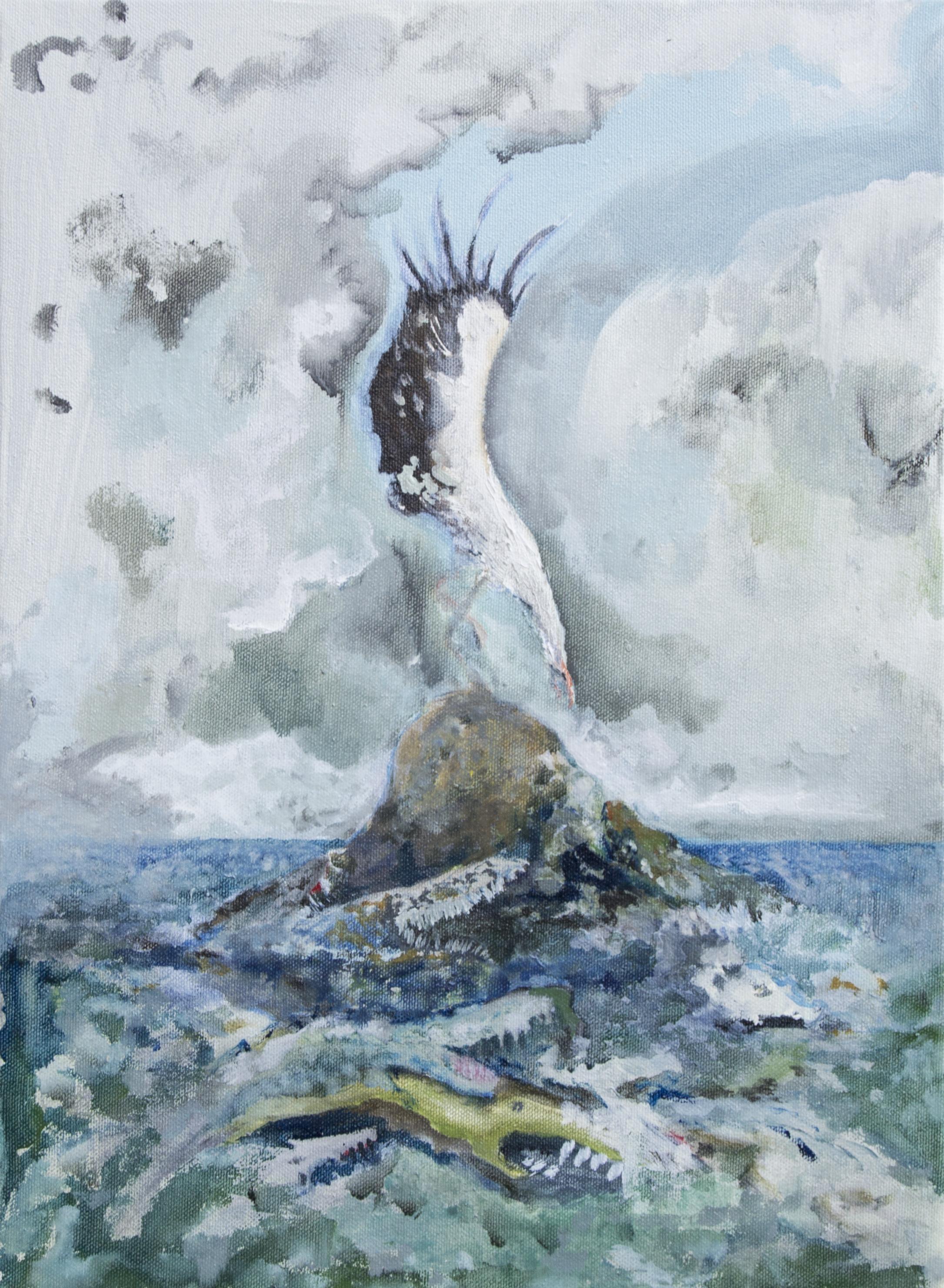 Vera Portatadino, The Great Struggle, 2017, oil on canvas, 40 x 30 cm