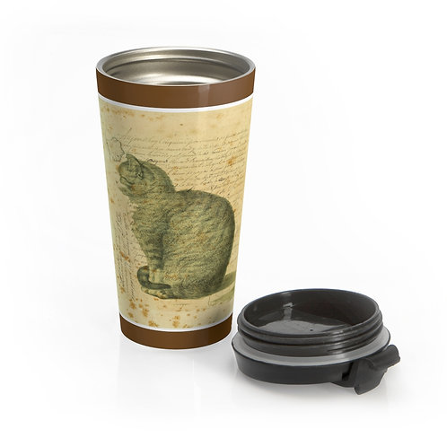 Vintage Cat Collage-Stainless Steel Travel Mug