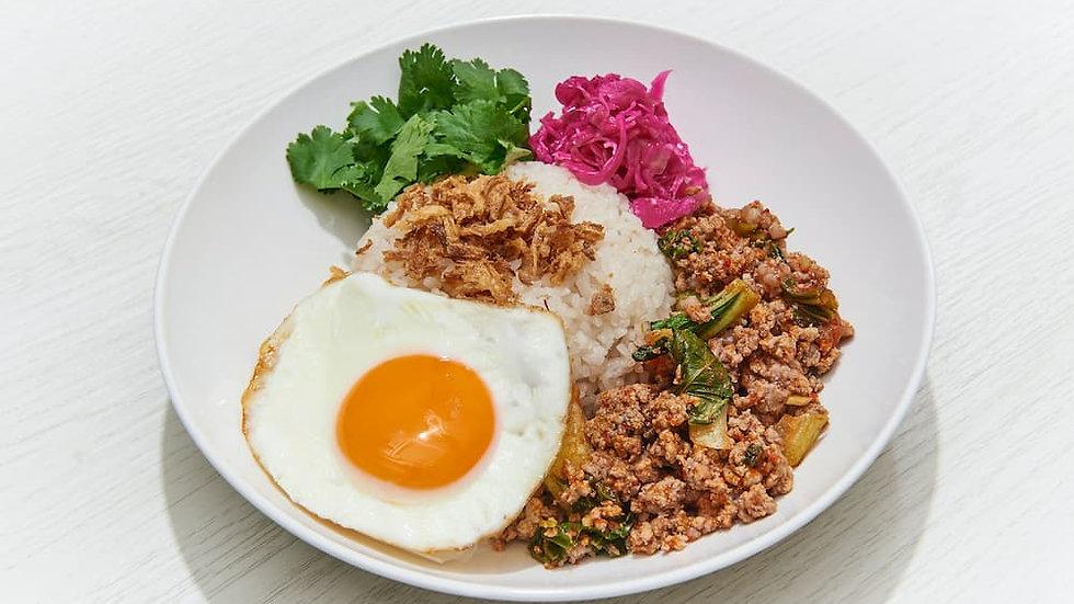 挽き肉青菜のピリ辛炒めご飯
