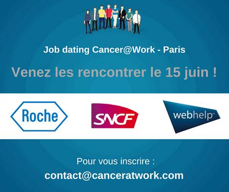 Job-dating cancer@work organisé en partenariat avec la SNCF et les laboratoires ROCHE .