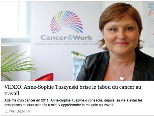 """Le Parisien """"Anne-Sophie TUSZYNSKI brise le tabou du cancer"""""""