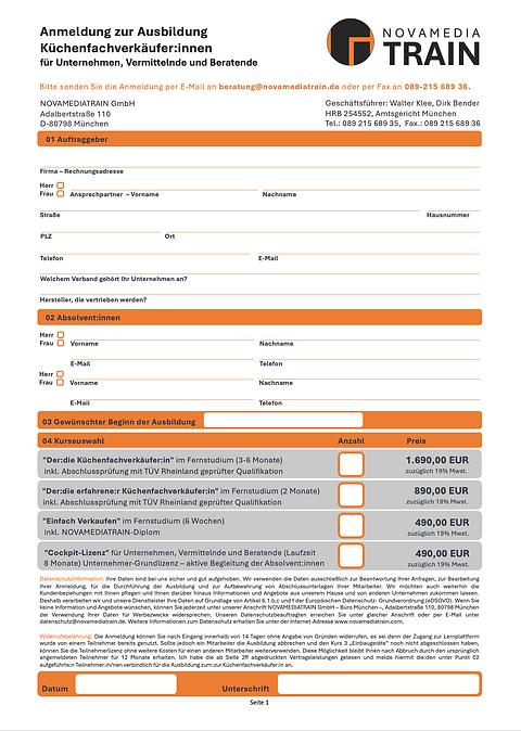 NOVAMEDIATRAIN_Bestellformular_Unternehmen:Vermittelnde_Beratende_Fernschule_Küchenfacverk