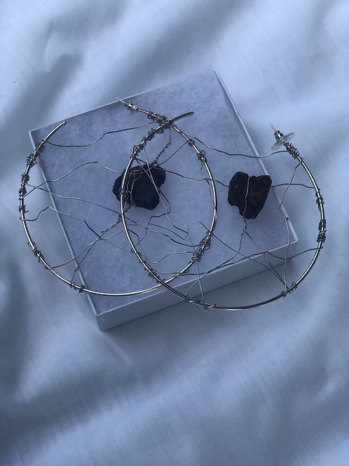 Peacock ore Stone wire wrapped (silver/large)