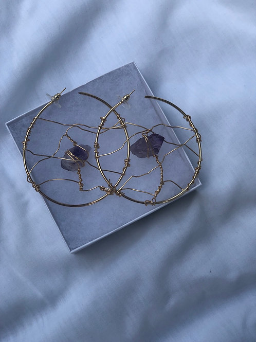Amethyst Stone wire wrapped (medium/gold)