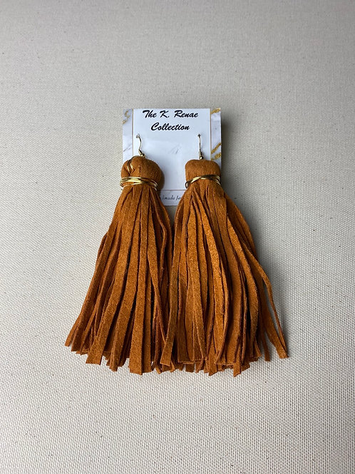 Harvest orange suede tassels (medium)