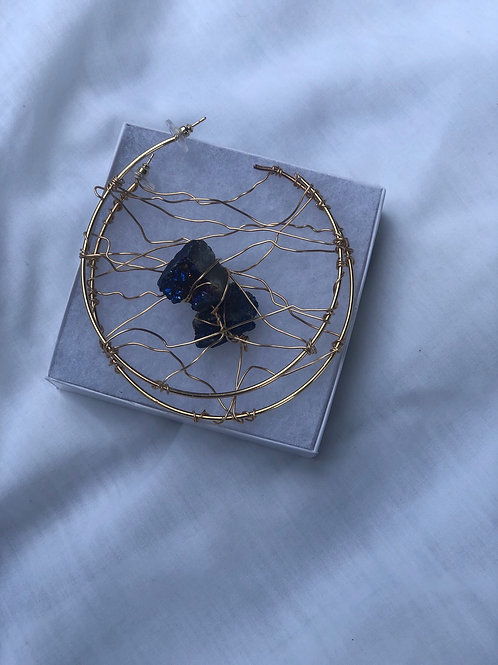 Peacock ore stone wire wrapped (gold/large)