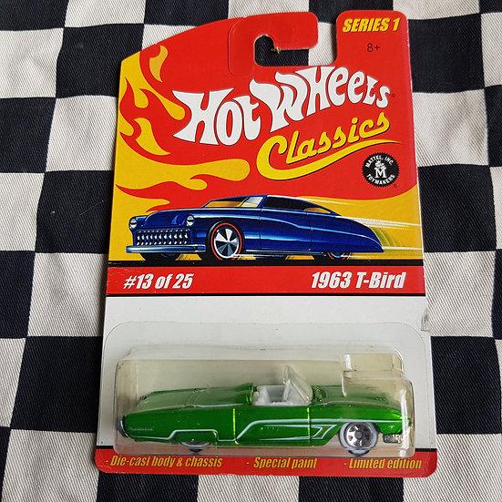Hot Wheels Classics 1963 T-Bird Convertible White Walls Green