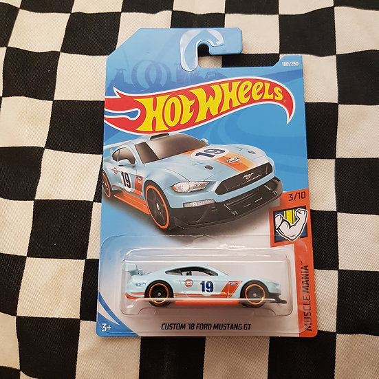 Hot Wheels 2019 Muscle Mania GULF Custom 18 Ford Mustang GT