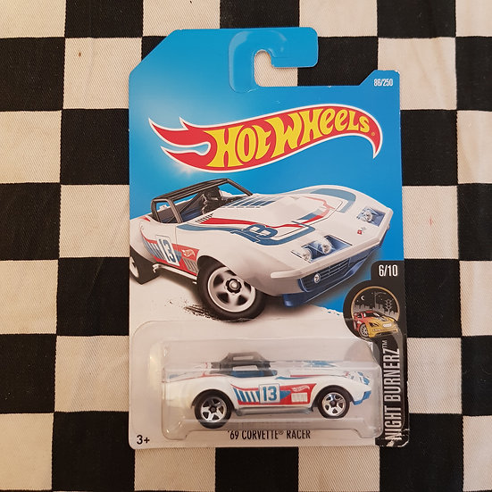 Hot Wheels 2016 Night Burnerz 69 Corvette Racer White