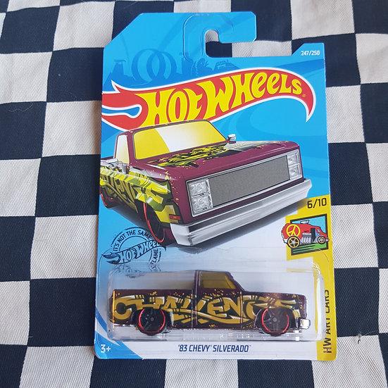 Hot Wheels 2019 Art Cars 83 Chevy Silverado Maroon