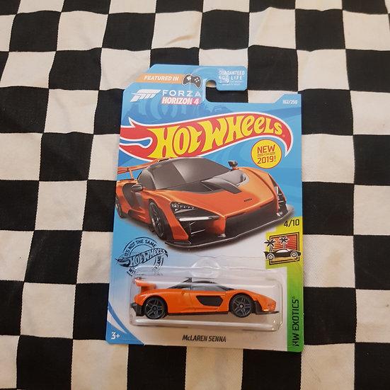 Hot Wheels 2019 Exotics Forza Mclaren Senna Orange Long Card