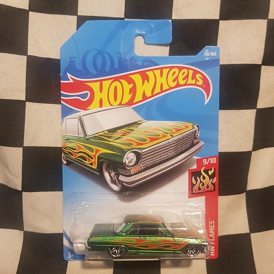 Hot Wheels 2018 Flames 63 Chevy II Green