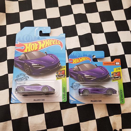 Hot Wheels 2019 Exotics Mclaren 720s Long/Short Card purple