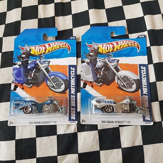 Hot Wheels 2011 Main Street Boss Hoss Motorcycle Trike Police Blue or White