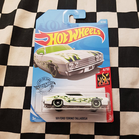 Hot Wheels 2019 Flames 69 Ford Torino Talladega White
