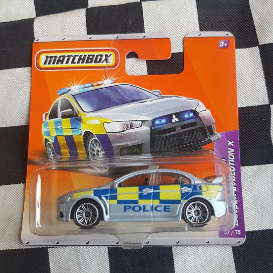 Matchbox 2010 Mitsubishi Lancer Evo X Police Car Short Card