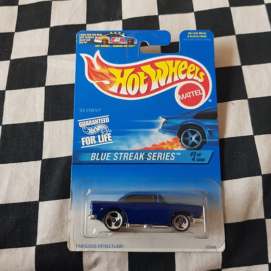 Hot Wheels 1996 Blue Streak Series 1955 Chevy Blue
