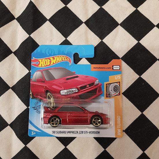 Hot Wheels 2020 Turbo 98 Subaru Impreza 22B STI Red Short Card