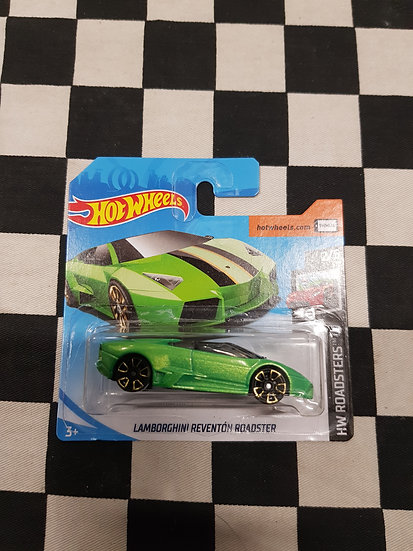 Hot Wheels 2019 Roadsters Lamborghini Reventon Roadster Green Short Card
