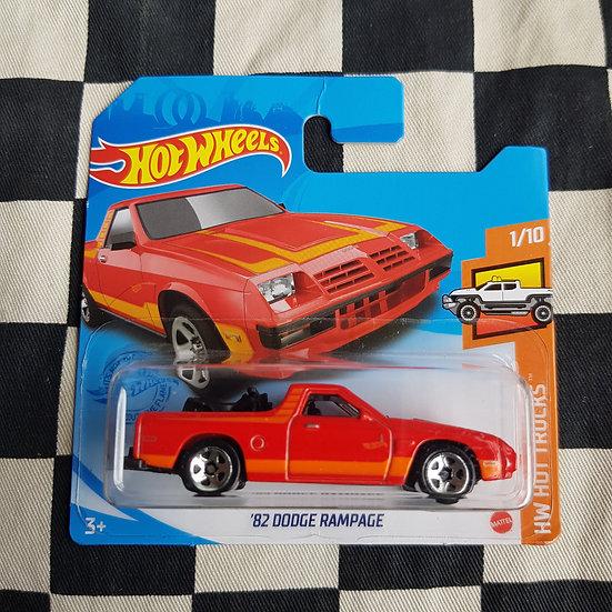 Hot Wheels 2021 Hot Trucks 82 Dodge Rampage Red Short Card