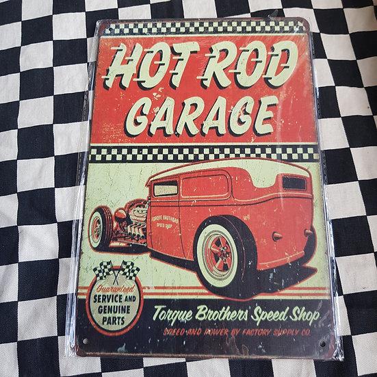 Tin Sign Repro 20x30 Hot Rod Garage