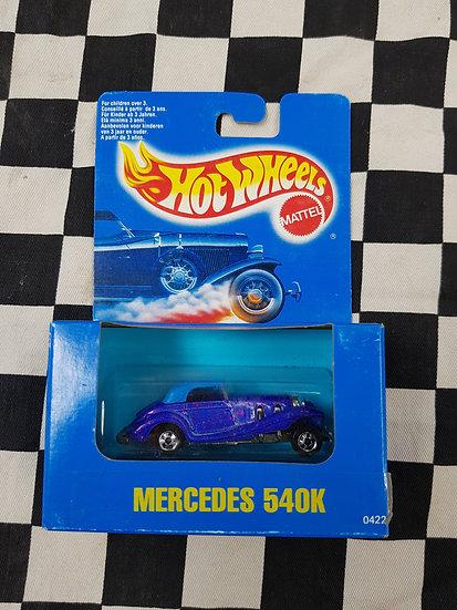 Hot Wheels 1991 Blue Boxed Mercedes 540k Blue red Metalflake Whitewalls