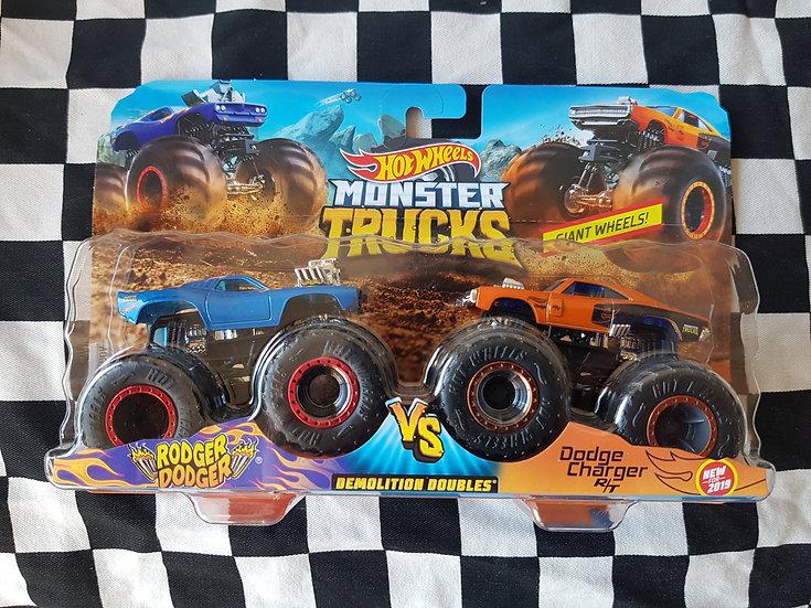 Hot Wheels Monster Trucks Rodger Dodger vs Dodge Charger R/T Twin Pack