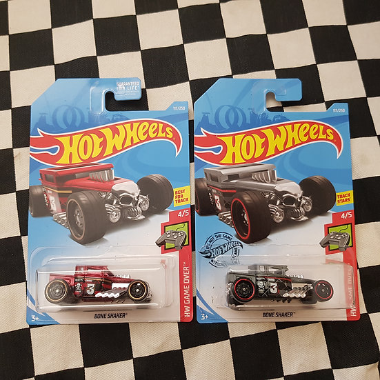 Hot Wheels 2019 Game Over Series Bone Shaker Red Grey Choice of 2