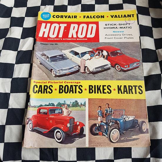 American HOT ROD Magazine Feb 1960 Falcon Valiant  TBucket 32 Ford Chev