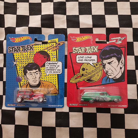 Hot Wheels Star Trek Spock 59 Chevy Delivery, Midnight Otto Hotrod Ford