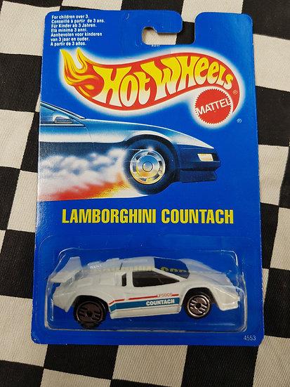 Hot Wheels 1990 Blue Card Lamborghini Countach White