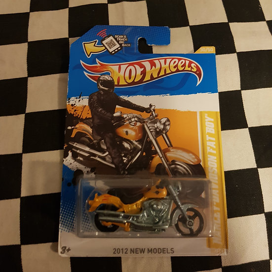Hot Wheels 2012 First Edition Harley Davidson Fat Boy Yellow