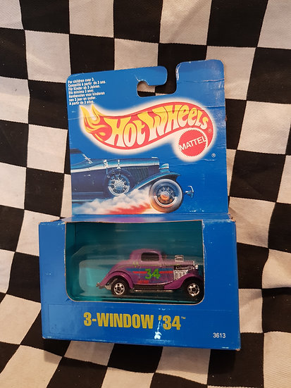 Vintage Hot Wheels 1991 Blue Boxed Purple 3 Window 34 Ford Hotrod