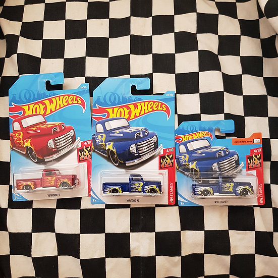 Hot Wheels 2018 Flames 49 Ford F1 Pickup Truck Red Blue Long Short