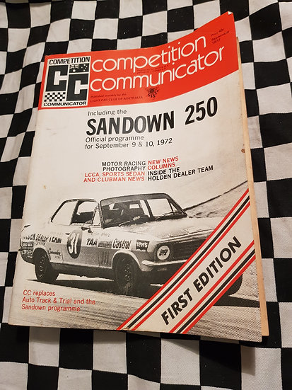 Competition Communicator FIRST ISSUE Sept 1972 Sandown 250 race programme