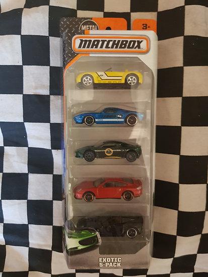 Matchbox Exotic 5 pack Porsche Corvette Lotus Ford Cobra Gt40