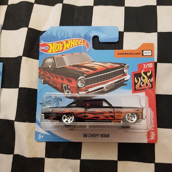 Hot Wheels 2019 Flames 66 Chevy Nova Black Short Card