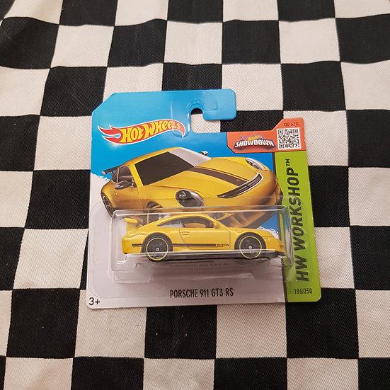 Hot Wheels 2015 Workshop Porsche 911 GT3 RS Yellow Short Card
