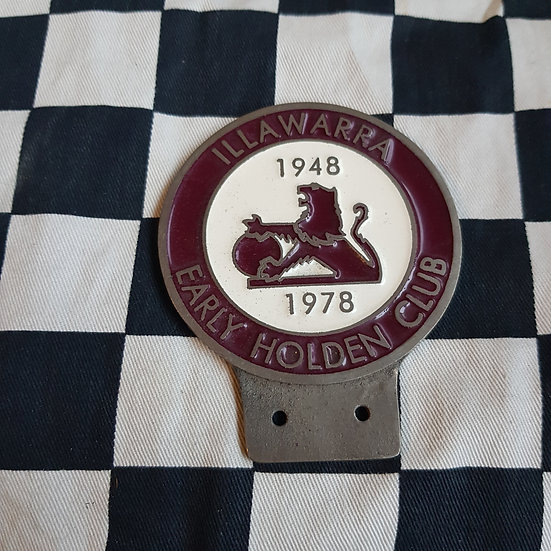 Illawarra Early Holden Club Bumper/Grille Plaque/badge