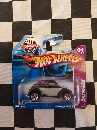 Hot Wheels 2008 Volkswagen 1/4 Vw Beetle Flat Black Short Card