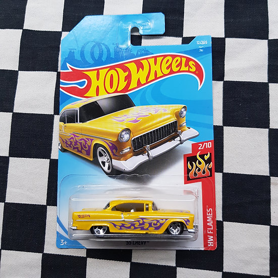 Hot Wheels 2018 Flames 55 Chevy Yellow