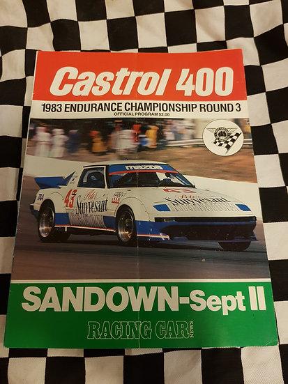 Castrol 400 Sandown race prgramme Sept 11 1983