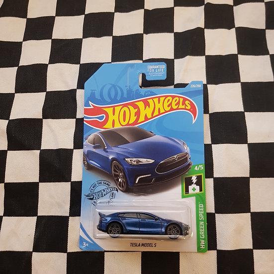 Hot Wheels 2020 Green Speed Tesla Model S Blue