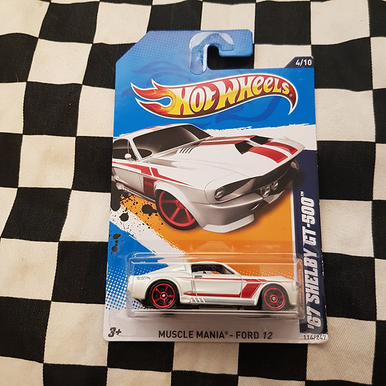 Hot Wheels 2012 Muscle Mania 67 Shelby GT500 Ford Mustang Fastback White