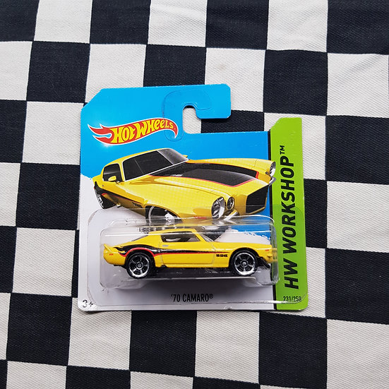 Hot Wheels 2014 Workshop 70 Camaro Yellow Short Card