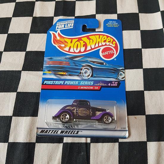 Hot Wheels 1998 Pinstripe Power 34 Ford 3 window Coupe Purple