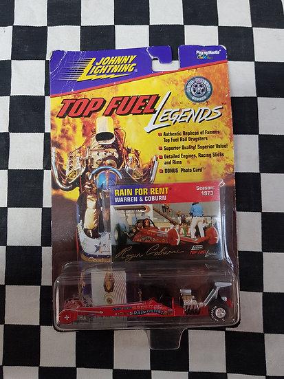 Johnny Lightning TOP FUEL Legends Warren & Coburn Rain for Rent DRAGSTER 1:64