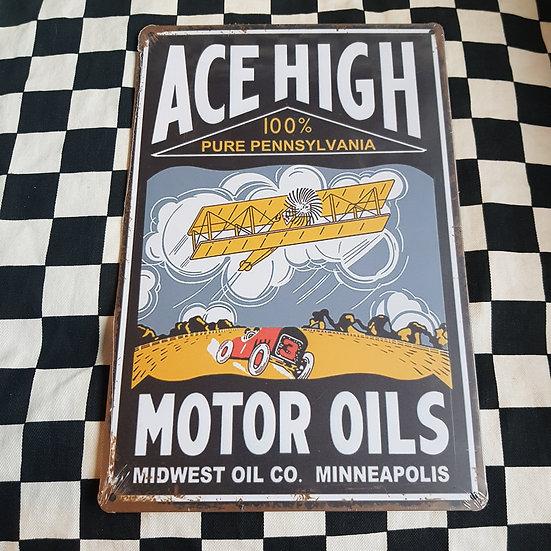 Tin Sign Repro 20x30 Ace High Motor Oils
